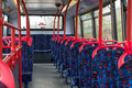 British bus interior of the empty multi storey public viem from the front to the rear Royalty Free Stock Photography