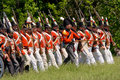 British/Canadian infantry marching into battle dur Royalty Free Stock Photo