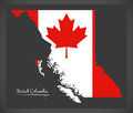 British Columbia Canada map with Canadian national flag Royalty Free Stock Photo