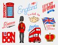 British, Crown and Queen, teapot with tea, bus and royal guard, London and the gentlemen. symbols, badges or stamps Royalty Free Stock Photo