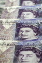 British currency. Close up of British 20 Pound bank notes. Royalty Free Stock Photo