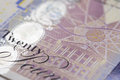 British currency a close up of a twenty pound note Royalty Free Stock Photography