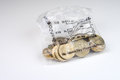 British currency a money bag of twenty pound coins Stock Photo
