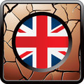 British flag on bronze cracked web button Stock Images