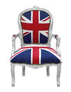 British flag chair vintage with decoration isolated on white background Royalty Free Stock Images