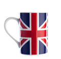 British flag cup isolated with path on white close up of Stock Photography