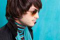 British indie pop rock look retro hip young man Stock Photo