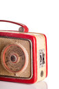 British made sixties transistor radio red body with brass grille Stock Images