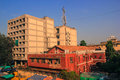 British and modern architecture india photo reflecting in ahmedabad some old historic buildings struggle to versus buildings in Royalty Free Stock Image