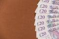 British money background 20 pound notes Royalty Free Stock Photo