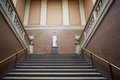 British Museum ancient stairway with Roman statue in London Royalty Free Stock Photo