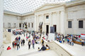British Museum Great Court interior with stairway and people in London Royalty Free Stock Photo