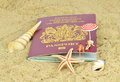 A British passport on the beach Royalty Free Stock Image