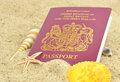 A British passport on the beach Stock Photo