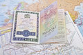 British Passport on world map Royalty Free Stock Photo