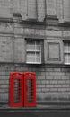 British phone booths on royal mile street in edinburgh scotland two Stock Image