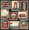 British postage stamps set of with the flag of the uk and london sights Royalty Free Stock Image