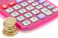British pound coins and calculator Stock Image