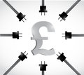 British pound currency and power cables illustration design over a white background Stock Photography