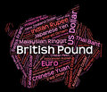 British pound shows currency exchange and coinage meaning foreign coin Royalty Free Stock Photo