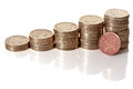 British pound sterling coins stack Royalty Free Stock Photo