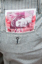 British pounds in pocket Royalty Free Stock Photo