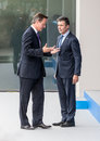 British prime minister david cameron and nato secretary general newport wales uk sep summit anders fogh rasmussen at the Royalty Free Stock Photos