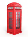 British red phone booth d render isolated on white and clipping path Royalty Free Stock Image