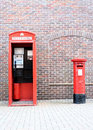 British Red Telephone Box and Post Royalty Free Stock Photo