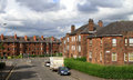British residential area with typically english brick houses in uk Stock Photo