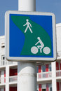 British road sign Segregated route for pedal cycles and pedestrians Royalty Free Stock Photo