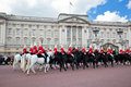 British royal guards perform the changing of the guard in buckingham palace london may riding on horse and on may london uk Royalty Free Stock Photography