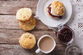 British scones with jam and tea close up horizontal top view fruit whipped cream on the table Royalty Free Stock Image