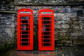 British telephone boxes two red Stock Images