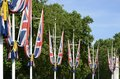 British union flags on the mall london england around queens gardens at end of outside buckingham palace westminster Stock Images