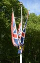British union flags on the mall london england or jack pole in westminster Stock Photos