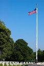 Brittany american cemetery and memorial flag headstones at Royalty Free Stock Photos