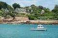 Brittany island boat along ile de brehat coastline Royalty Free Stock Photos