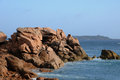 Brittany, pink granit rocks in Ploumanac  Royalty Free Stock Photography