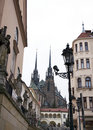 Brno the gothic cathedral and capuchin church czech republic of st peter paul from th century view from from th century Royalty Free Stock Photography