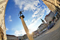 Brno old town of zelny trh with cupids statue on a column czech republic Stock Image