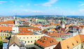 Brno skyline aerial view of city in the sunny day czech republic Royalty Free Stock Photos