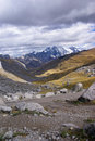 Broad glacial valley with erratic granite boulders Royalty Free Stock Image