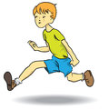 Broad jump boy jumping in length cartoon vector illustration Stock Image