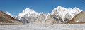Broad peak and vigne glacier panorama pakistan karakorum Royalty Free Stock Image
