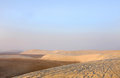 A broad view leeward sides of sand dunes at Qatar Stock Photo