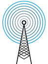 Broadcast tower vector illustration of on white Royalty Free Stock Images