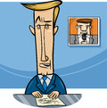 Broadcaster on television cartoon illustration of speaker or the air Royalty Free Stock Photo