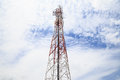 Broadcasting tower with cloudy sky telecommunication Royalty Free Stock Photo