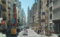 Broadway new york city usa block lower manhattan july until the woolworth headquarters building in the distant center was the Royalty Free Stock Photo